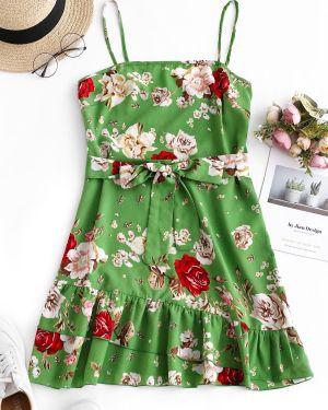 Платье с поясом зеленый Zaful
