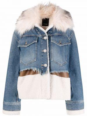 Джинсовая куртка с мехом - синяя Pinko