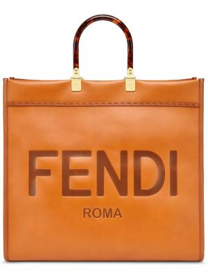 Коричневая сумка шоппер с камнями круглая с тиснением Fendi