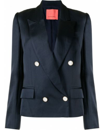 Синий удлиненный пиджак двубортный с карманами Manning Cartell
