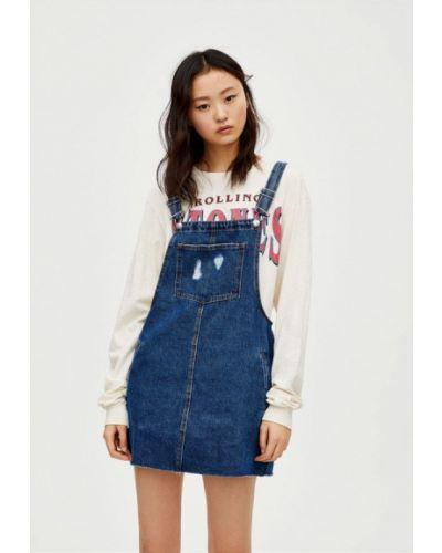Джинсовое платье платье-сарафан синее Pull&bear