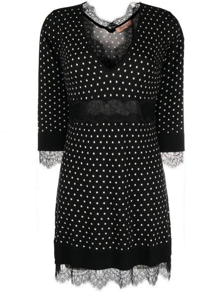 Вязаное черное платье с V-образным вырезом Twin-set