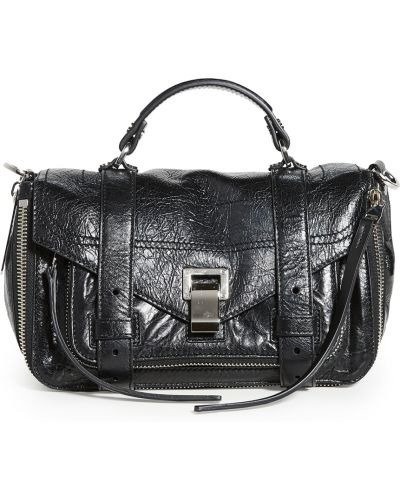 Черный кожаный ранец с карманами Proenza Schouler
