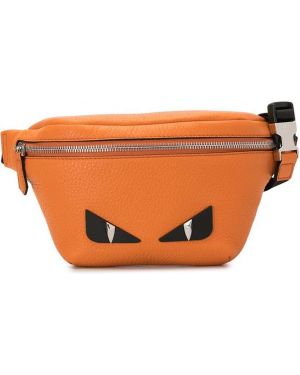 Кожаная поясная сумка на молнии с аппликациями Fendi Kids