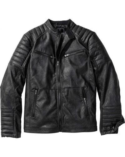 Кожаная куртка на резинке из искусственной кожи Bonprix