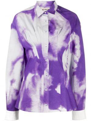 Fioletowa klasyczna koszula bawełniana z długimi rękawami Ottolinger