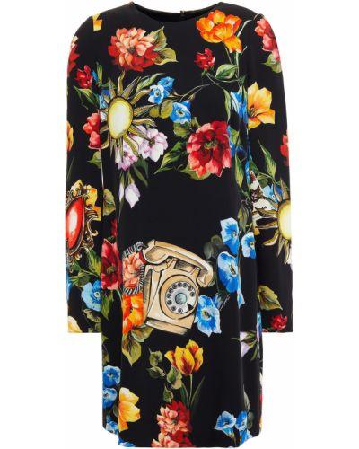 Платье мини атласное - черное Dolce & Gabbana