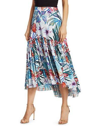 Трикотажная плиссированная юбка макси в цветочный принт Chiara Boni La Petite Robe