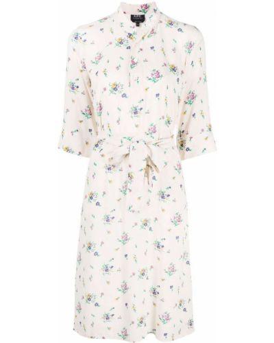 С кулиской платье-рубашка в цветочный принт на пуговицах A.p.c.