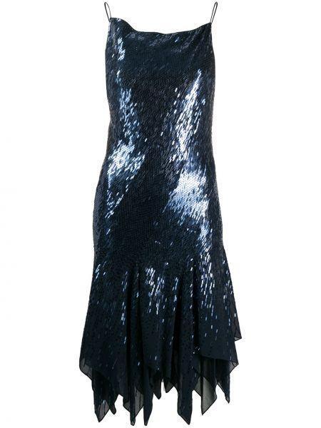 Шелковое платье с пайетками с вырезом квадратное Donna Karan