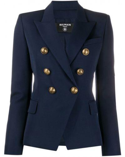 Синий приталенный пиджак с карманами на пуговицах Balmain