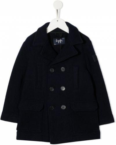 Синее шерстяное пальто классическое двубортное Il Gufo