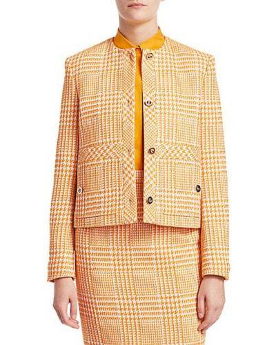 Оранжевая ватная длинная куртка в клетку Escada