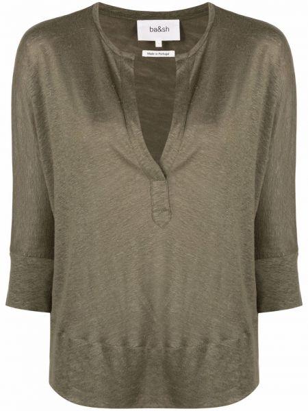 Льняная зеленая блузка с V-образным вырезом Ba&sh
