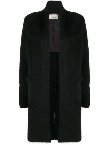 Черное длинное пальто оверсайз из альпаки Laneus