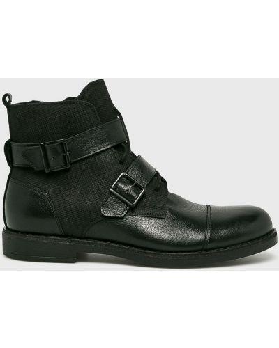 Ботинки на шнуровке кожаные высокие Domeno