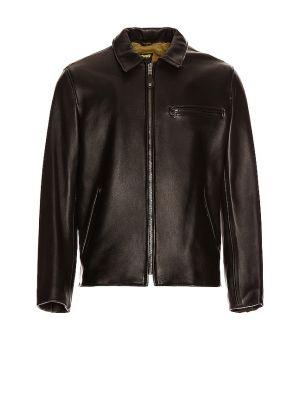 Кожаная куртка с воротником - черная Schott