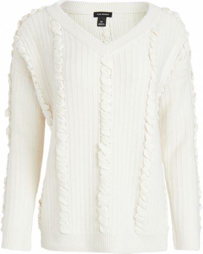 Бежевый шерстяной длинный свитер с V-образным вырезом Club Monaco