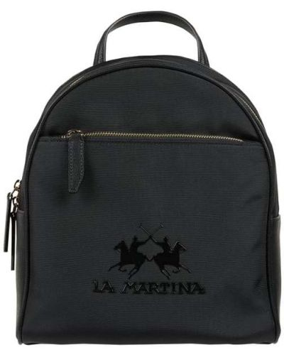 Czarny plecak w paski z nylonu La Martina