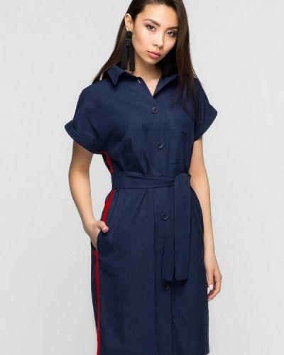 Платье мини весеннее синее A-dress