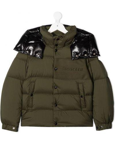 Зеленое пуховое длинное пальто с капюшоном Moncler Kids