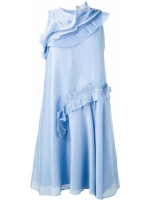 Niebieska sukienka rozkloszowana z jedwabiu Carven