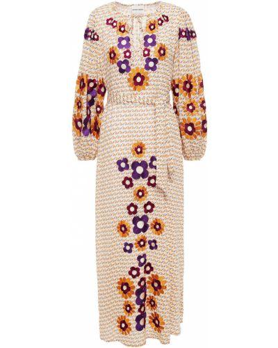 Pomarańczowa sukienka midi bawełniana Antik Batik