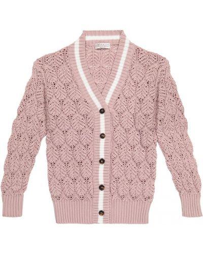 Różowy kardigan bawełniany Brunello Cucinelli Kids