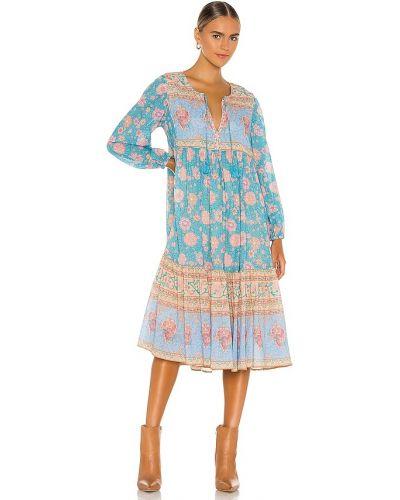 Niebieska sukienka długa boho skórzana Spell & The Gypsy Collective