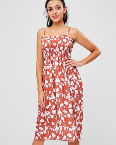 Платье с цветочным принтом лососевый Zaful