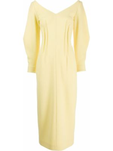 Облегающее шерстяное желтое платье миди на молнии Emilia Wickstead