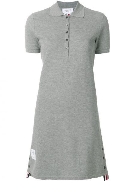 Niebieska sukienka mini asymetryczna w paski Thom Browne