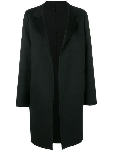 Черное кашемировое пальто классическое с карманами Liska