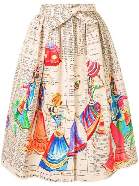 Белая с завышенной талией юбка миди со складками с завязками Stella Jean