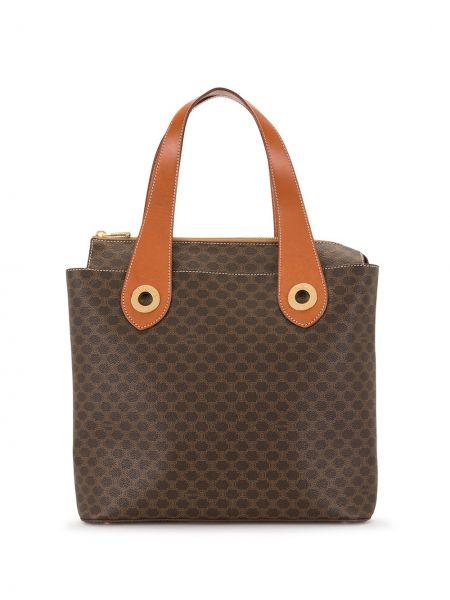 Золотистая коричневая сумка-тоут на молнии с карманами Céline Pre-owned