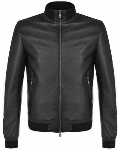 Джинсовая куртка кожаная с воротником-стойкой Dolce & Gabbana