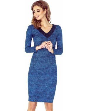 Niebieska sukienka jeansowa z dekoltem w serek materiałowa Morimia