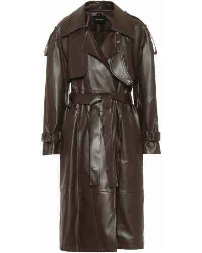 Коричневое кожаное пальто классическое Low Classic