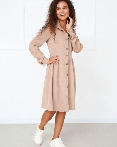 Повседневное платье миди - бежевое Fashion Girl