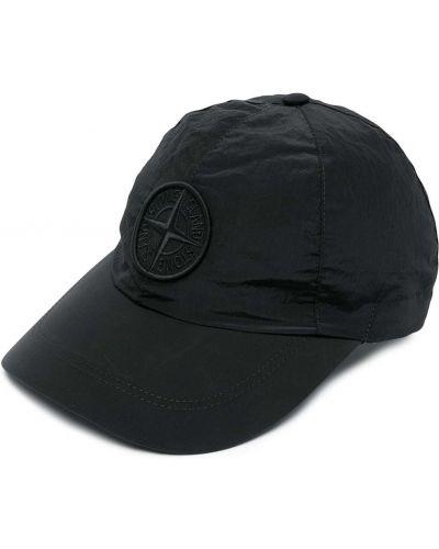 Czarna czapka z haftem bawełniana Stone Island