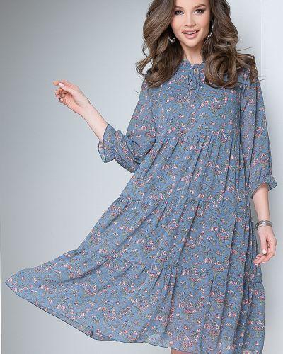 Шифоновое платье в цветочный принт с вырезом Bellovera
