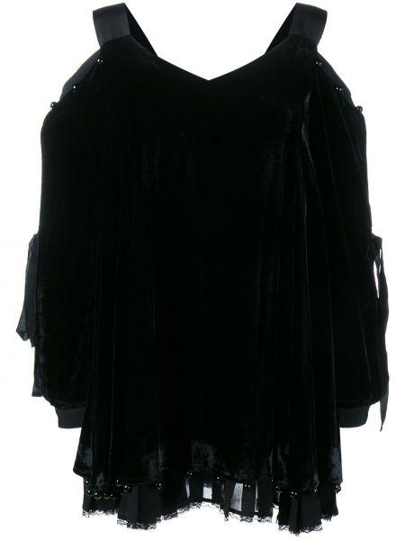 Шелковое черное спортивное ажурное платье Adam Selman Sport