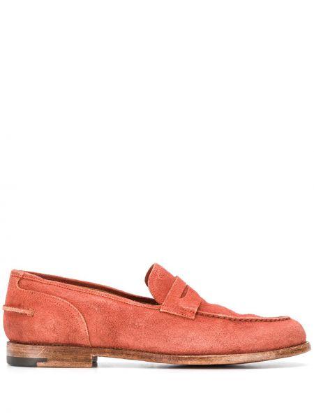 Klasyczne pomarańczowe loafers skorzane Alberto Fasciani