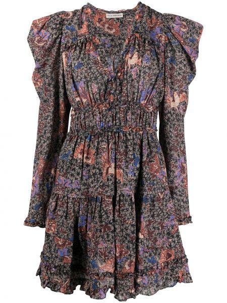 Czarna sukienka długa z długimi rękawami z wiskozy Ulla Johnson