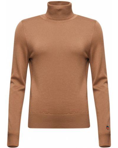 Pomarańczowy długi sweter wełniany z długimi rękawami Busnel
