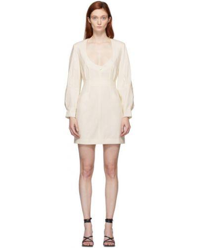 С рукавами белое кожаное платье макси с воротником Situationist