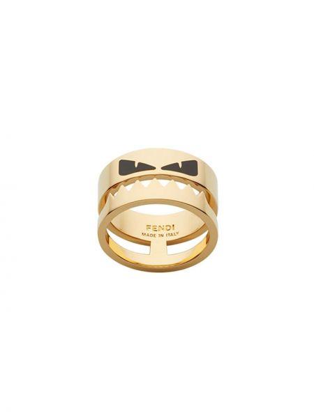 Pierścień czarny ze złota Fendi