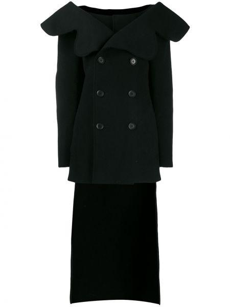 Шерстяной черный длинное пальто двубортный Yohji Yamamoto Pre-owned