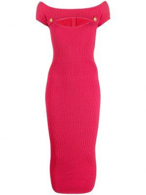 Prążkowana różowa sukienka midi krótki rękaw Balmain