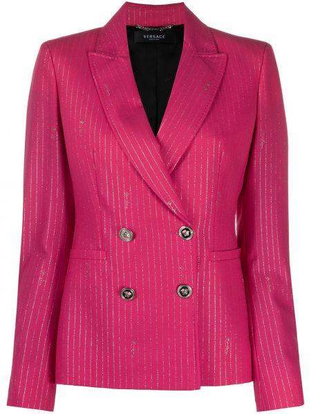 Розовый удлиненный пиджак двубортный с карманами Versace